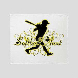 Softball Aunt (silhouette) Throw Blanket