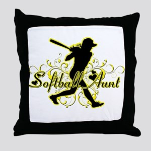 Softball Aunt (silhouette) Throw Pillow