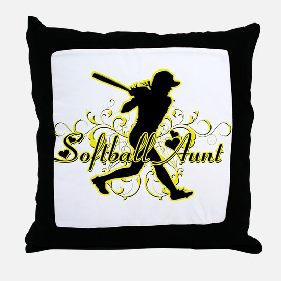 Softball Aunt (silhouette).png Throw Pillow