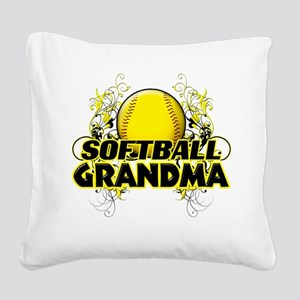 Softball Grandma (cross) Square Canvas Pillow