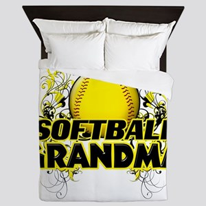 Softball Grandma (cross) Queen Duvet