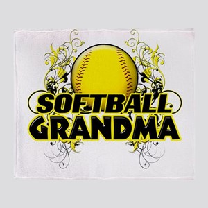 Softball Grandma (cross) Throw Blanket