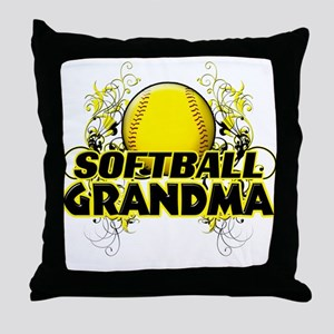 Softball Grandma (cross) Throw Pillow
