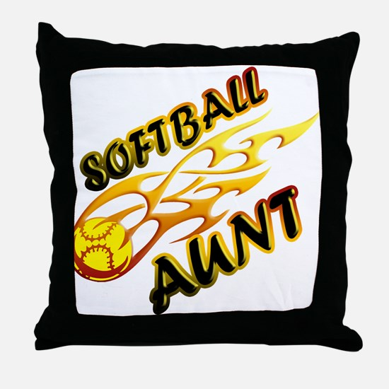 Softball Aunt (flame).png Throw Pillow