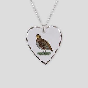 Bobwhite Quail Hen Necklace Heart Charm