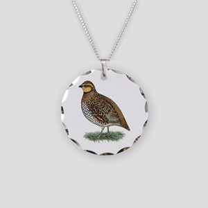 Bobwhite Quail Hen Necklace Circle Charm