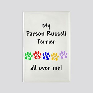 Parson Russell Terrier Walks Rectangle Magnet