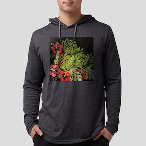 Hawaiian Flower Artwork Print De Mens Hooded Shirt