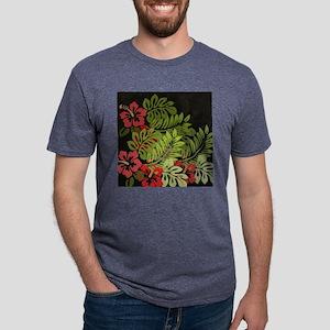 Hawaiian Flower Artwork Pri Mens Tri-blend T-Shirt