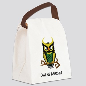 Owl of Mischief Canvas Lunch Bag