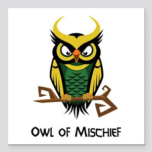 "Owl of Mischief Square Car Magnet 3"" x 3"""