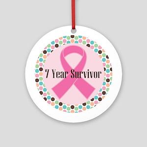 7 Year Breast Cancer Survivor Ornament (Round)
