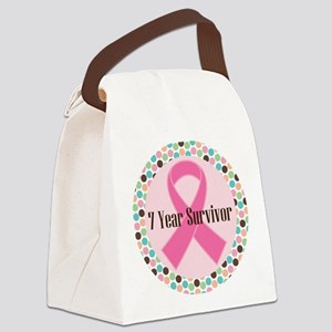 7 Year Breast Cancer Survivor Canvas Lunch Bag