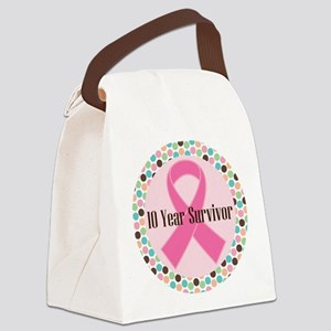 10 Year Breast Cancer Survivor Canvas Lunch Bag