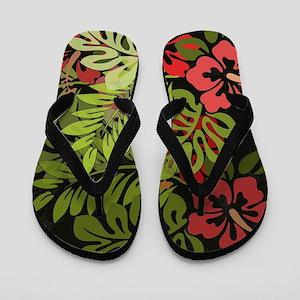 Hawaiian Flower Artwork Print Design Flip Flops