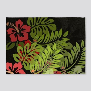 Hawaiian Flower Artwork Print Desig 5'x7'Area Rug