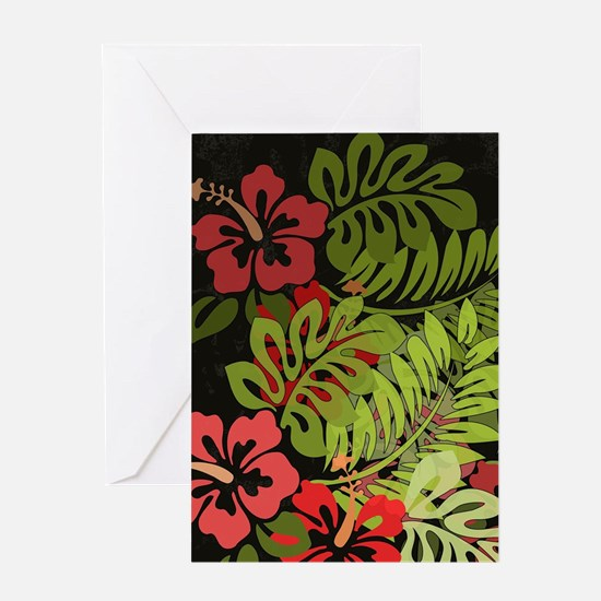 Hawaiian Flower Artwork Print Desig Greeting Cards