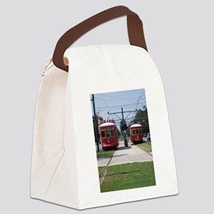 Red Streetcars Canvas Lunch Bag