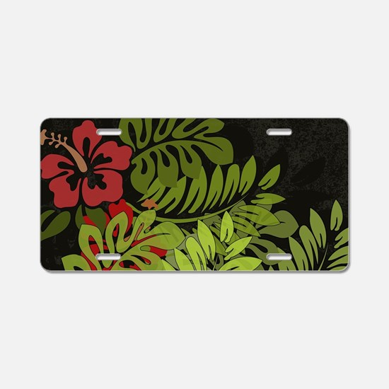 Hawaiian Flower Artwork Pri Aluminum License Plate