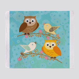 Birds and owls Throw Blanket