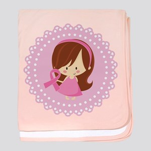 Girl With Breast Cancer Ribbon baby blanket