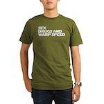Sex Drugs Warp Speed Organic Men's T-Shirt (dark)