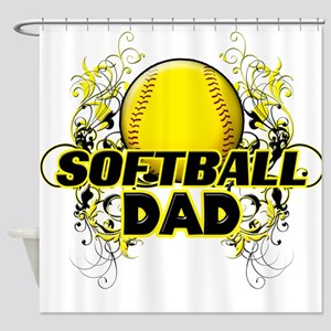 Softball Dads (cross) Shower Curtain