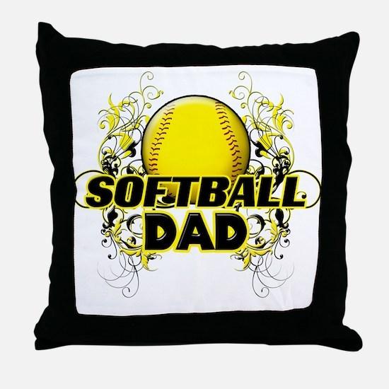 Softball Dads (cross).png Throw Pillow