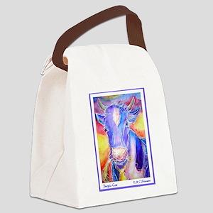 Cow! Purple cow art! Canvas Lunch Bag