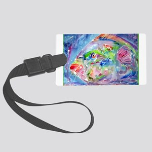 Tropical Fish! Colorful art! Large Luggage Tag
