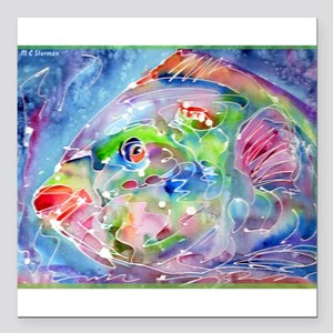 "Tropical Fish! Colorful art! Square Car Magnet 3"""