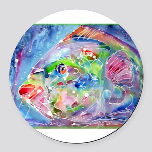 Tropical Fish! Colorful art! Round Car Magnet