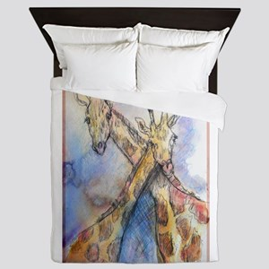Giraffes! wildlife art Queen Duvet