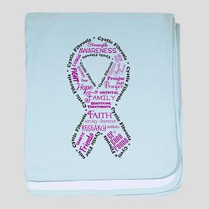 CF Words Ribbon baby blanket