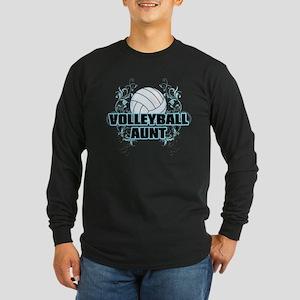 Volleyball Aunt (cross) Long Sleeve Dark T-Shi