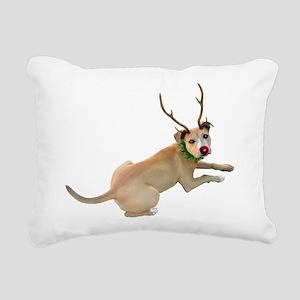 Reindeer Dog Rectangular Canvas Pillow