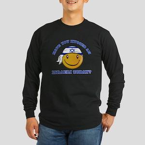 Cute Israeli Smiley Design Long Sleeve Dark T-Shir