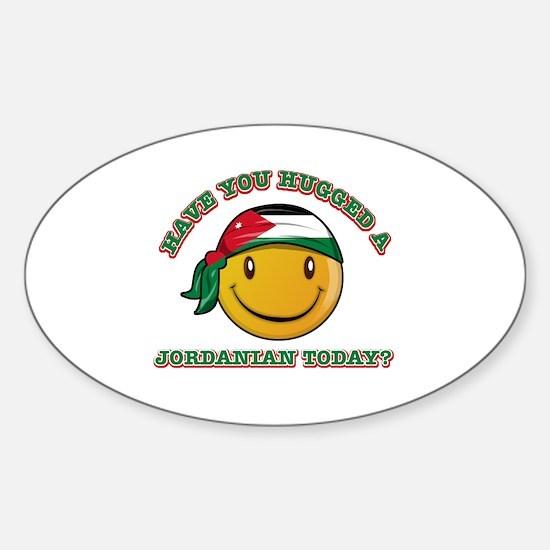 Cute Jordanian Smiley Design Sticker (Oval)