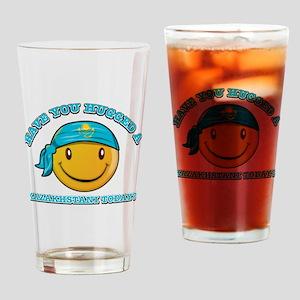Cute Kazakhstani Smiley Design Drinking Glass