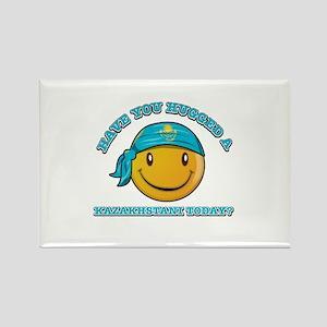 Cute Kazakhstani Smiley Design Rectangle Magnet