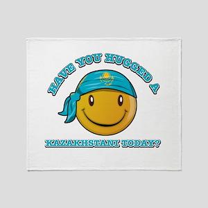 Cute Kazakhstani Smiley Design Throw Blanket