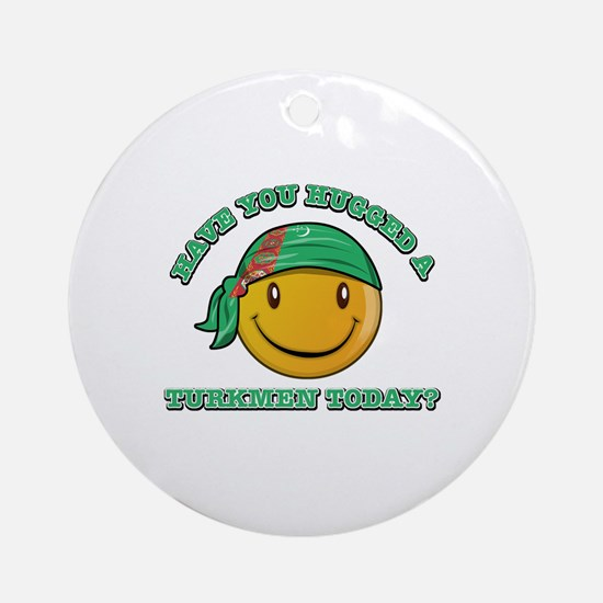 Cute Turkmen Smiley Design Ornament (Round)