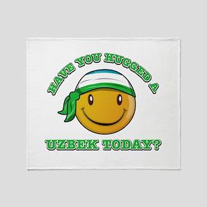 Cute Uzbek Smiley Design Throw Blanket