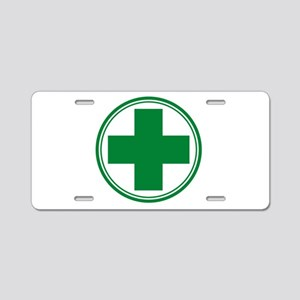 Green Cross Aluminum License Plate