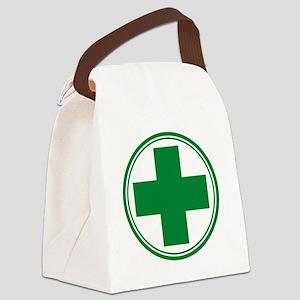 Green Cross Canvas Lunch Bag