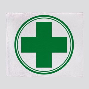 Green Cross Throw Blanket