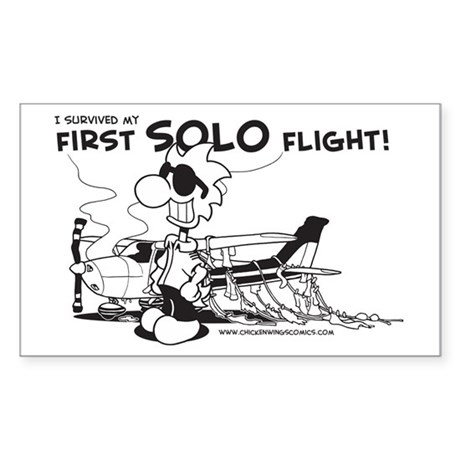 First Solo Flight (Plane) Sticker (Rectangle)