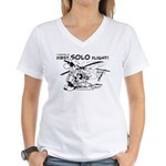 First Solo Flight (Helicopter) Women's V-Neck T-Sh