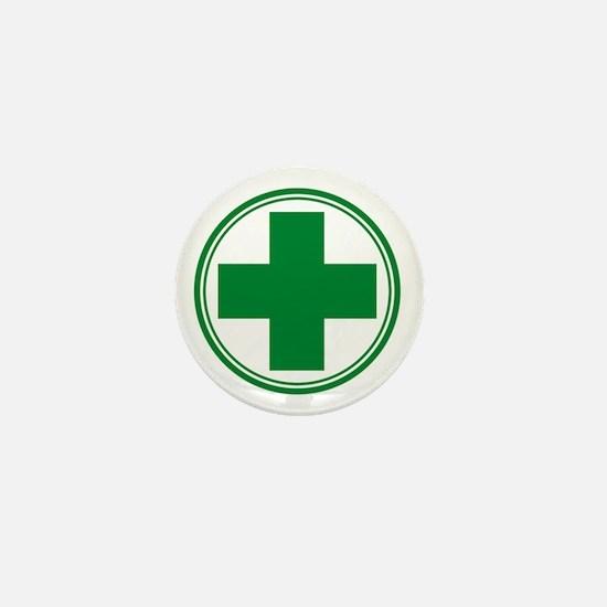 Green Cross Mini Button