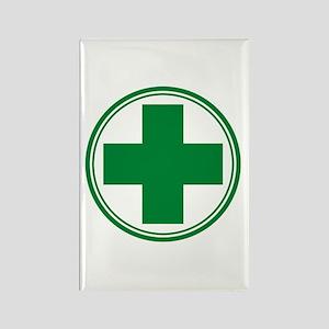 Green Cross Rectangle Magnet